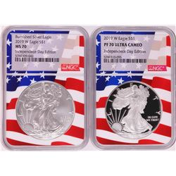 Lot of 2019-W $1 Burnished/Proof American Silver Eagle Coins NGC MS70/PF70 Ultra Cameo