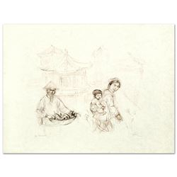 """Edna Hibel (1917-2014) """"Then and Now"""" Limited Edition Lithograph"""