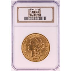 1906-D $20 Liberty Head Double Eagle Gold Coin NGC MS63