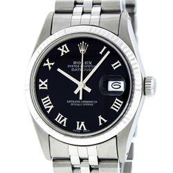 Rolex Men's Stainless Steel Black Roman Datejust 36MM Wristwatch Datejust