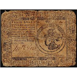 May 9, 1776 $3 Continental Currency Note