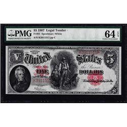 1907 $5 Woodchopper Legal Tender Note Fr.91 PMG Choice Uncirculated 64EPQ