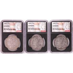 Lot of 1888-O to 1890-O $1 Morgan Silver Dollar Coins NGC Genuine