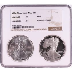 1986 $1 American Silver Eagle Coin Set NGC MS69/PF69 Ultra Cameo