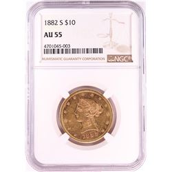 1882-S $10 Liberty Head Eagle Gold Coin NGC AU55
