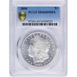 1896 $1 Morgan Silver Dollar Coin PCGS MS65DMPL