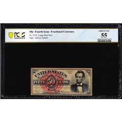 1863 Fourth Issue 50 Cent Lincoln Fractional Currency Note PCGS Uncirculated 55