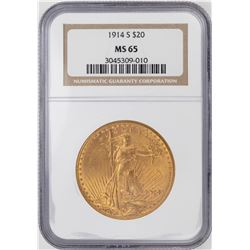 1914-S $20 St. Gaudens Double Eagle Gold Coin NGC MS65