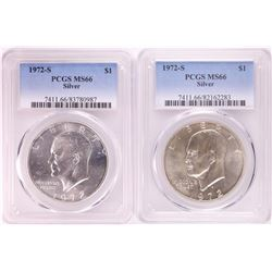 Lot of (2) 1972-S Eisenhower Silver Dollar Coins PCGS MS66