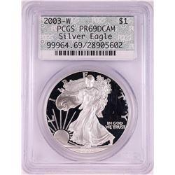 2003-W $1 Proof American Silver Eagle Coin PCGS PR69DCAM Retro Doily Holder
