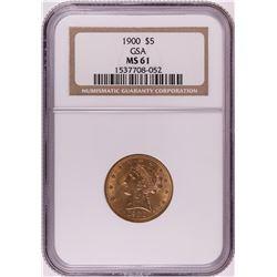1900 $5 Liberty Head Half Eagle Gold Coin NGC MS61 GSA Hoard