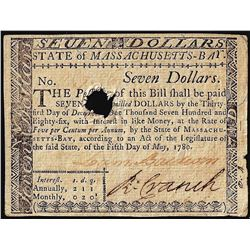 May 5, 1780 $7 State of Massachusetts Colonial Currency Note