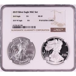 2019 $1 American Silver Eagle Coin Set NGC MS69/PF69 Ultra Cameo