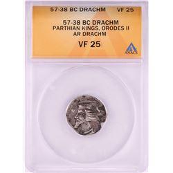 57-38 BC Parthian Kings Orodes II Drachm Silver Coin ANACS VF25