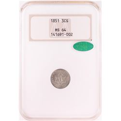 1851 Three Cent Silver Coin NGC MS64 CAC