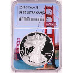 2019-S $1 Proof American Silver Eagle Coin NGC PF70 Ultra Cameo Bridge Core