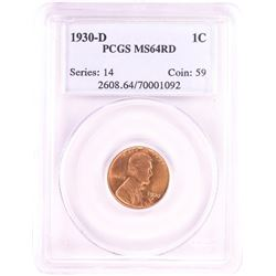 1930-D Lincoln Wheat Cent Coin PCGS MS64RD