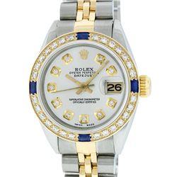 Rolex Ladies Two Tone Steel & Gold Silver Diamond & Sapphire Datejust Wristwatch
