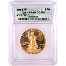 1986-W Proof $50 American Gold Eagle Gold Coin ICG PR69DCAM