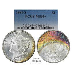 1881-S $1 Morgan Silver Dollar Coin PCGS MS65+ Amazing Toning