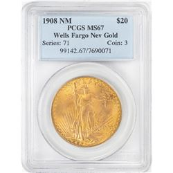 Wells Fargo 1908 No Motto $20 St. Gaudens Double Eagle Gold Coin PCGS MS67