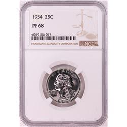 1954 Proof Washington Quarter Coin NGC PF68