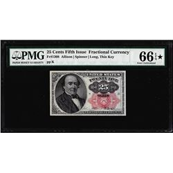 1874 25 Cent Fifth Issue Fractional Currency Note PMG Choice Uncirculated 66EPQ Star