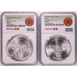 Lot of (2) 1979Mo Mexico 1 Onza Silver Coins NGC MS65