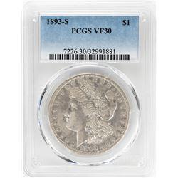 1893-S $1 Morgan Silver Dollar Coin PCGS VF30