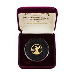 1989 Rarities Mint Disney Mickey Good Luck 1/4 Oz. Gold Coin w/ Box