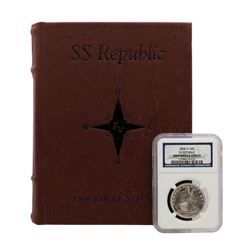 1858-O SS Republic Seated Liberty Half Dollar Coin NGC Shipwreck Effect with Book