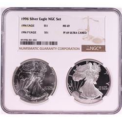 1996 $1 American Silver Eagle Coin Set NGC MS69/PF69 Ultra Cameo