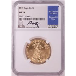 2019 $25 American Gold Eagle Coin NGC MS70 Edmund Moy Signature