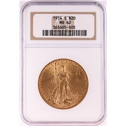 1914-S $20 St. Gaudens Double Eagle Gold Coin NGC MS62