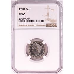 1900 Proof Liberty V Nickel Coin NGC PF65