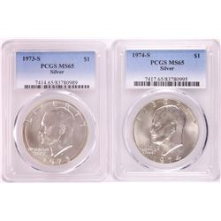 Lot of 1973-S & 1974-S Eisenhower Silver Dollar Coins PCGS MS65