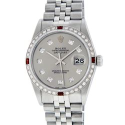 Rolex Men's Stainless Steel Gray Diamond & Ruby Datejust Wristwatch