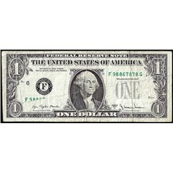 1977A $1 Federal Reserve Fold Over Obstructed Printing ERROR Note