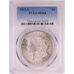 1921-S $1 Morgan Silver Dollar Coin PCGS MS64
