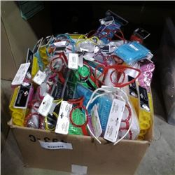 BOX OF HEADBANDS, HAIR ROLLERS, ACCESSORIES