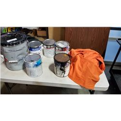 Lot of shop coat primer and other paint with 2 pairs of coveralls