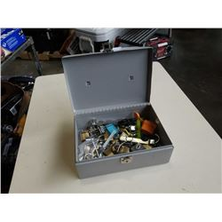 METAL BOX FULL OF LOCKS AND KEYS