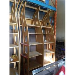 APPROXIMATELY 127 inches tall 70 inches wide 51 inches deep LARGE WOOD RETAIL DISPLAY SHELF UNIT - A