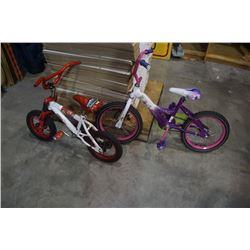 2 KIDS BIKES, WHITE AND PINK AND WHITE AND RED