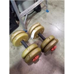 2 YORK DUMBBELLS WITH 40 LBS OF WEIGHTS
