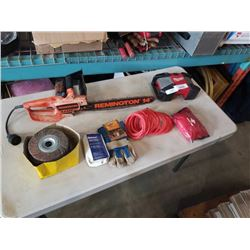 REMMINGTON ELECTRIC CHAINSAW, MILWAUKEE RADIO, FIRST AID KIT AND SHOP SUPPLIES
