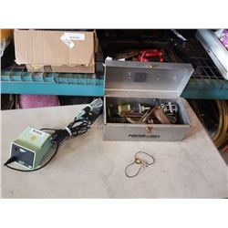 SOLDERING IRON AND TOOLBOX WITH CONTENTS, STANLEY PLANER