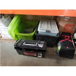 LOT OF TOTES WITH HUSKY TOOLBOX AND DEWALT SAWZALL