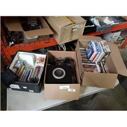 3 boxes of DVDs, CDs, computer speakers and electronics