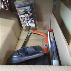 Box of bow saw, braided rope splicing kit, knee pads and more